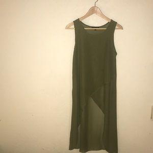 Shear green high low shirt
